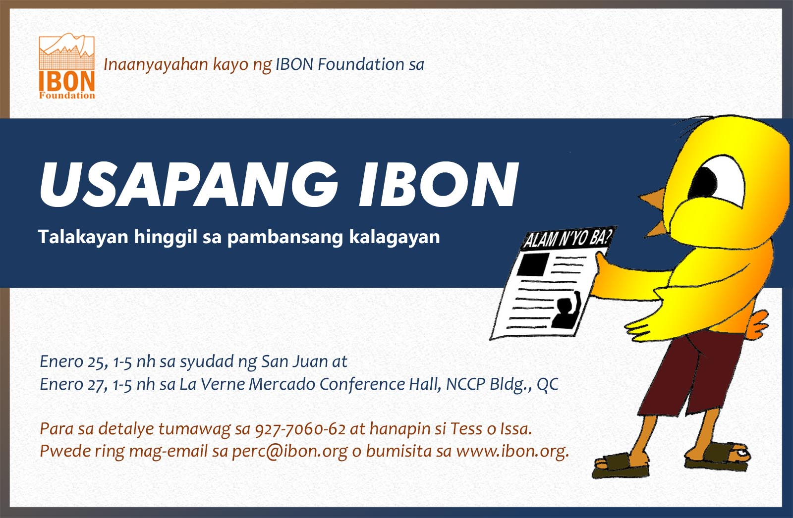 ibon birdtalk Block the dates: july 15 for teachers and students, july 14 for other sectors esp business, academe, religious, ngos, people's organization leaders, etc 1pm.